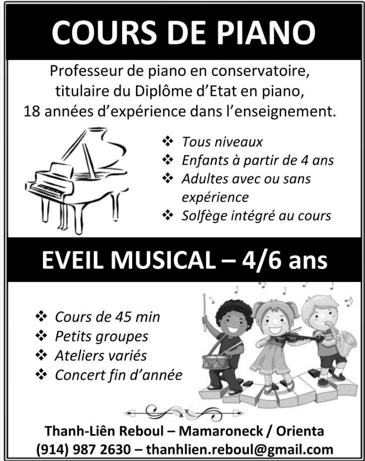 Cours de piano - Than Liên Reboul